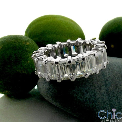 Eternity 9 Ct Emerald Share Prong Cubic Zirconia Cz Ring
