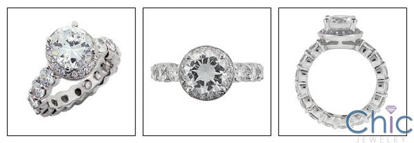 2.25 Round CZ Center Eternity Cubic Zirconia Engagement Ring 14k White Gold