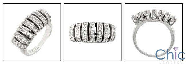 Estate Rows of Pave Cubic Zirconia Cz Ring