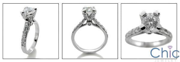 Engagement 0.75 Round center Ca dral Setting Cubic Zirconia Cz Ring