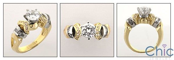 Engagement Ring Cubic Zirconia Round 1 Carat Center Two Tone 14K Gold
