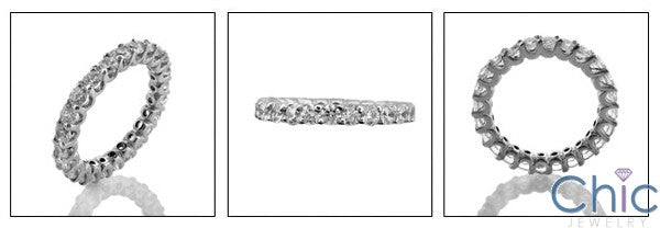 Round Share Prong Cubic Zirconia Eternity 1.5 TCW 14K White Gold Band