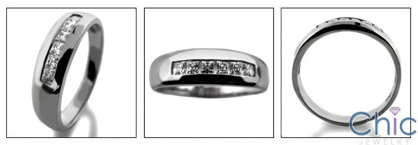 Mens .30 Ct Princess in Channel Cubic Zirconia CZ Wedding Band