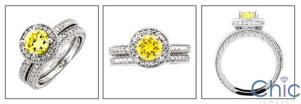 Matching Set Canary Round 1 Ct . Halo Pave Engraved Shank Cubic Zirconia Cz Ring