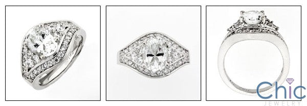Anniversary 2.5 Oval CZ Center Pave and Channel Cubic Zirconia 14K White Gold Ring