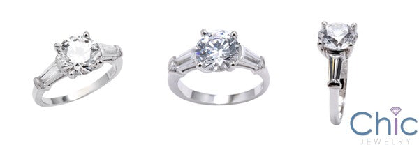 3 Stone 2 Ct Round Long Tapered Baguettes Cubic Zirconia Cz Ring