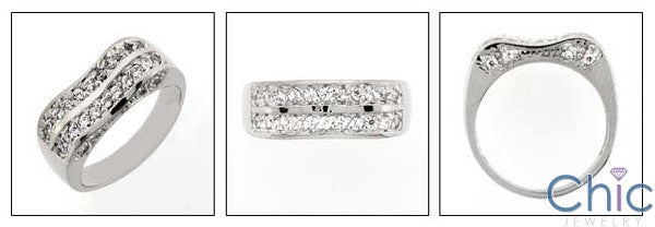 Fine Jewelry .50 TCW Pave Set Waivy Cubic Zirconia Cz Ring