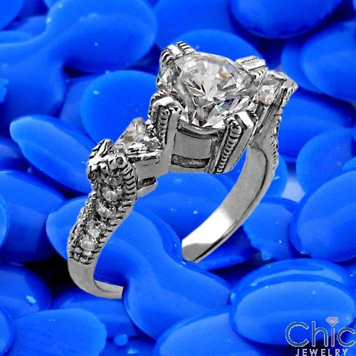 Anniversary Round 1.5 Ct Center Triangle d Pave Set Stone Cubic Zirconia Cz Ring