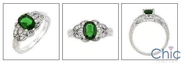Estate 1.5 Oval Emerald Color Engraved Shank Cubic Zirconia Cz Ring