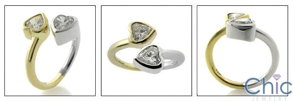 Anniversary Two Heart Shape Cubic Zirconia Stones in Bezel 14K Tone Tone Gold Ring