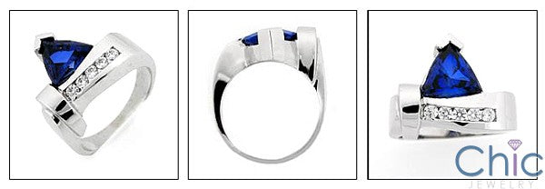 Anniversary 3 Ct Sapphire Trillion Ct channel Cubic Zirconia Cz Ring