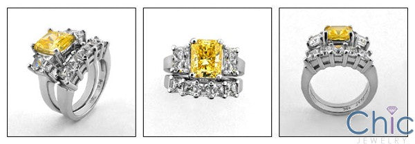Matching Set 3 Ct Canary Radiant 5 stone Princess Cubic Zirconia Cz Ring