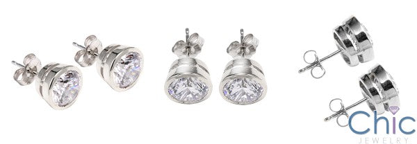 4 Ct Round Bezel Cubic Zirconia CZ Earrings