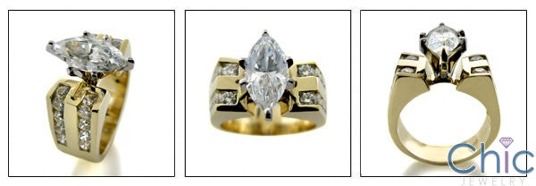 Engagement 3 Ct Marquise Center Channel Cubic Zirconia Cz Ring