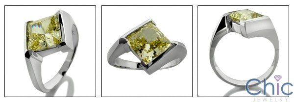 Solitaire Canary 3 Ct Princess in Channel Cubic Zirconia Cz Ring