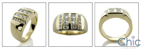 Mens 1.75 TCW Princess Channel Set Cubic Zirconia CZ Wedding Band