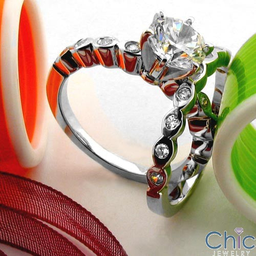 Wedding .10 TCW Round Stone Narrow Shank Cubic Zirconia CZ Band