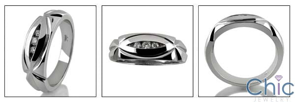 Mens 0.15 TCW Round in Channel Cubic Zirconia CZ Wedding Band