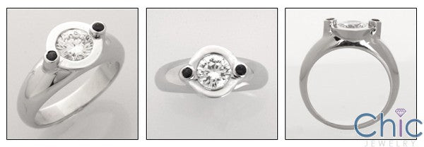 Estate Round 1 Ct Bezel Small Sapphires Cubic Zirconia Cz Ring