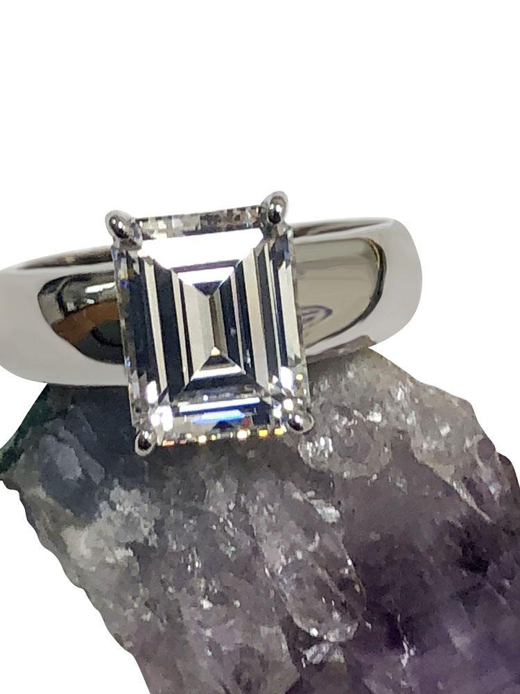 4 Carat Emerald Cut 10 MM by 8MM Cubic Zirconia Solitaire ring 14K white gold