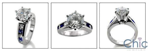 Engagement 1.5 Round Center Channel Sapphire Cubic Zirconia Cz Ring