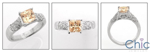 Anniversary 1.3 TCW Princess Pave Cubic Zirconia Cz Ring