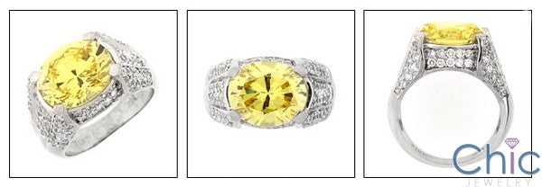 Estate Canary 5 Ct Oval Pave Cubic Zirconia Cz Ring