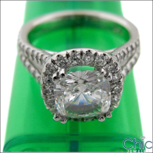 Anniversary 2 Ct Cushion Center CZ Split Shank Pave Set Cubic Zirconia 14k White Gold Ring