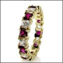 Eternity Princess Ruby Diamond Cz Yellow Gold Band