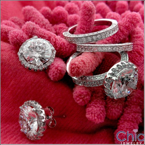 Matching Set 4 Ct Round Halo Pave Double Cubic Zirconia Cz Ring