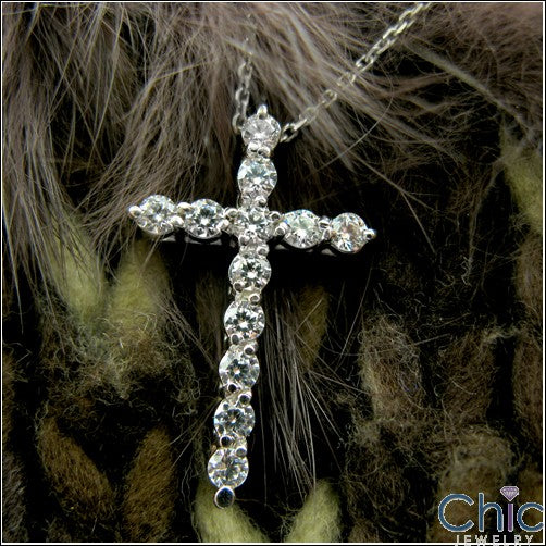 Cubic Zirconia Cz Cross .75 TCW Round Stone Share Prong Pendant