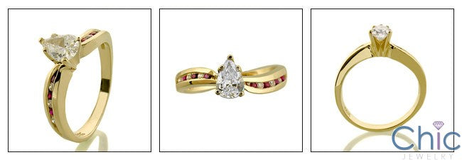 Engagement .75 Pear Center in Yellow Gold Cubic Zirconia Cz Ring