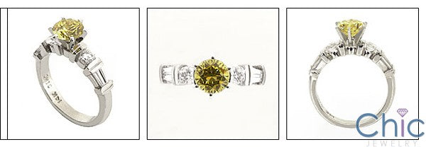 Engagement Canary Round Center Channel Cubic Zirconia Cz Ring