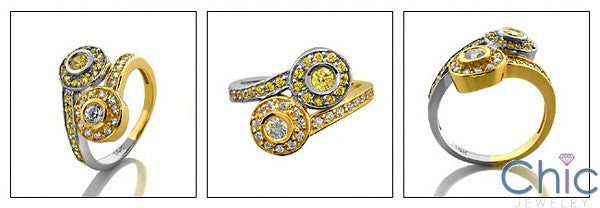 Fine Jewelry Canary Ct Diamond Bezel Cubic Zirconia Cz Ring