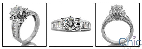 Engagement Round 1 Ct Center Channel Baguettes Cubic Zirconia Cz Ring