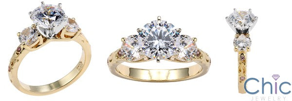 Engagement Round 2 Ct Center 1 TCW Round Cubic Zirconia Cz Ring