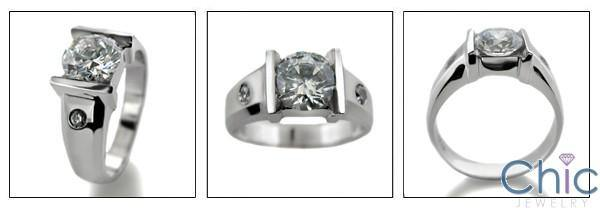 1.5 Round Cubic Zirconia Channel Engagement Cz Ring 14k White Gold