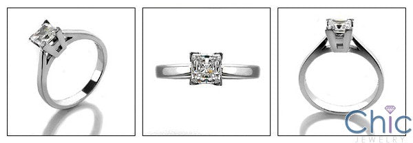 Solitaire .40 Ct Princess Single Stone Cubic Zirconia Cz Ring
