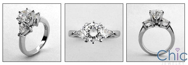 3 Stone 1.25 Diamond Color Round Center Triangles Cubic Zirconia Cz Ring