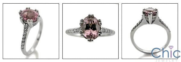 Engagement Pink Oval 1.5 Ct Cubic Zirconia Cz Ring
