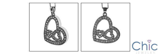 Cubic Zirconia Cz Two Hearts as One Pendant