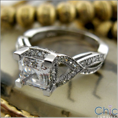 Engagement 1.25 Asscher Cubic Zirconia  Pave Set Rounds Side Stones Cz 14K White Gold Ring