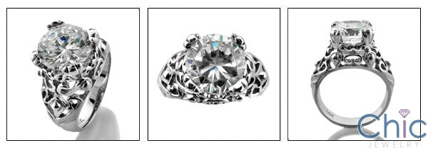 Solitaire 3 Ct Round Filigree Cubic Zirconia Cz Ring