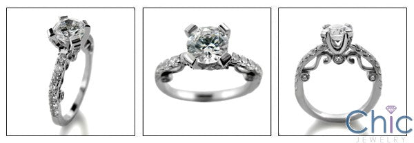 Engagement Round 1Ct Center Scroll Detail Pave Cubic Zirconia Cz Ring