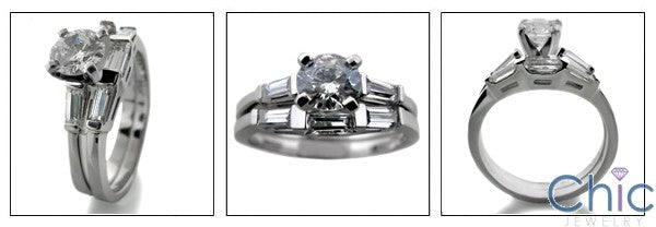 Matching Set .5 Round Center Curved Channel Cubic Zirconia Cz Ring