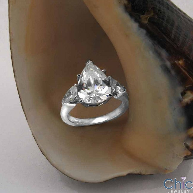 3 Stone Pear Shape Cubic Zirconia 14k White Gold Ring