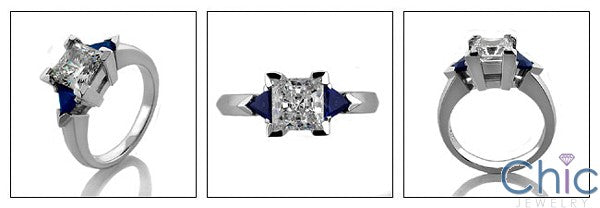 3 Stone 1.25 Princess Center Sapphire Triangles on Cubic Zirconia Cz Ring