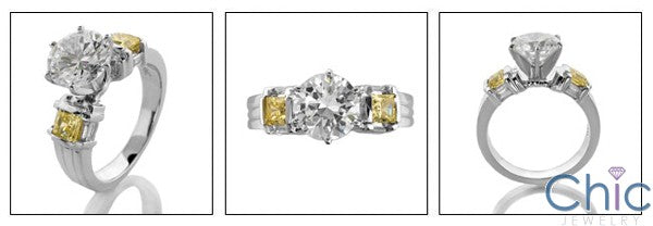 3 Stone Round 2 Ct Center Canary Cubic Zirconia Cz Ring