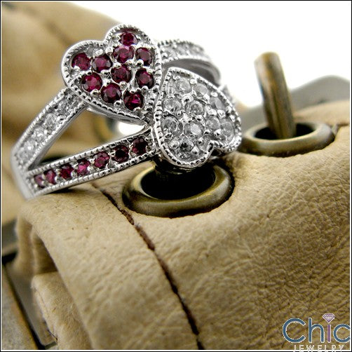 Ring With Two Hearts Set with Ruby and Diamond Color Cubic Zirconia in 14K White Gold