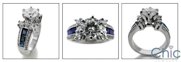 1.25 Brilliant  Round Cubic Zirconia Center Sapphire Channel Princess Sides 14k White Gold Engagement Ring